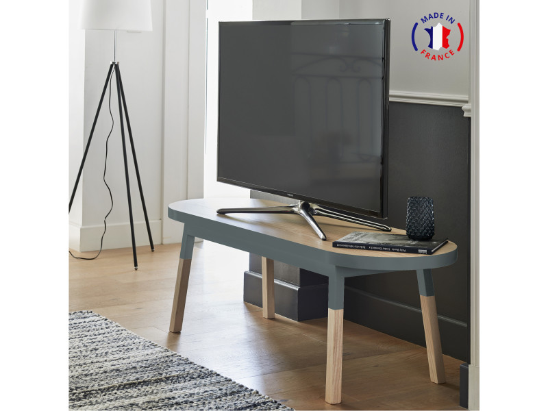 Meuble tv banc frêne massif 140x45 cm bleu gris lehon - 100% fabrication française