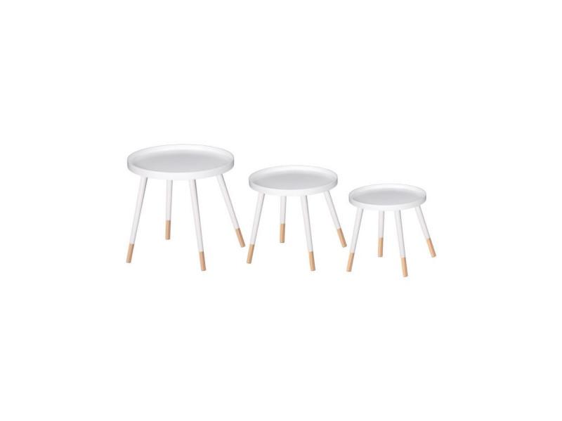 Finlandek lot de 3 tables gigognes rondes sven scandinave - plateau blanc + pieds pin massif bicolore - ø 46, 40 et 35 cm