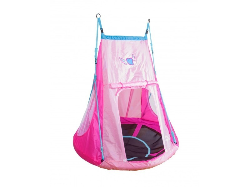 Hudora balançoire nid 110cm avec tente heart - rose