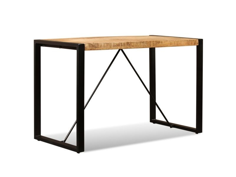 Vidaxl table de salle à manger bois de manguier brut 120 cm 243996