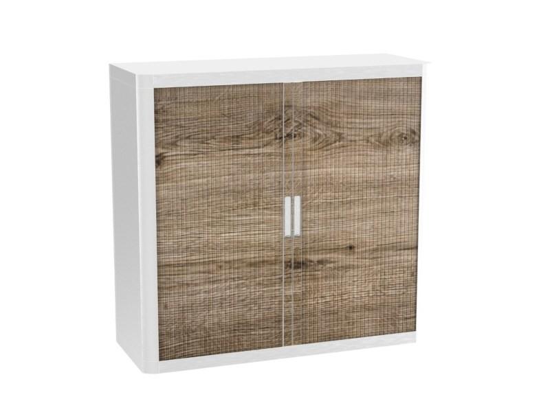 Armoire de bureau métalique porte coulissante h 1m - bois