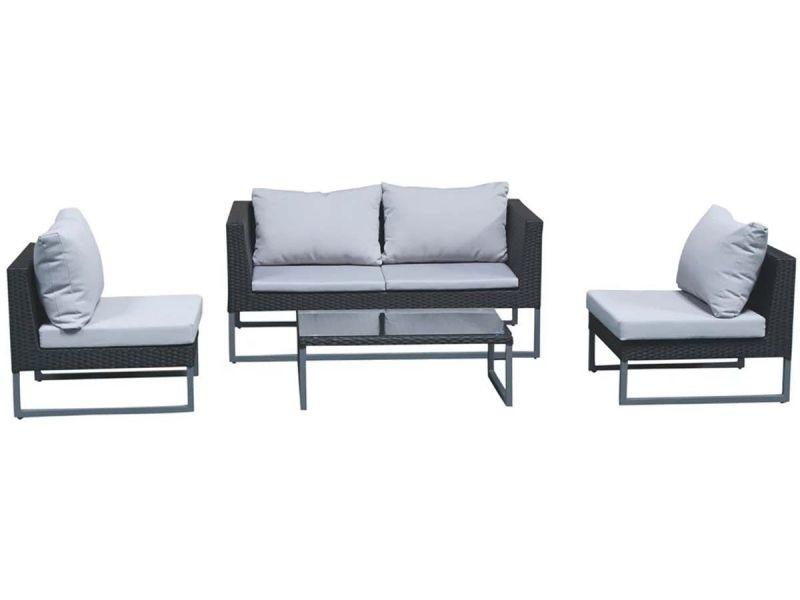 Salon de jardin gris/noir - clever ALU-D006 - Vente de ...