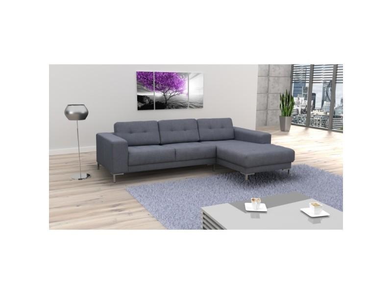 Canapé d'angle muna angle droit tissu gris