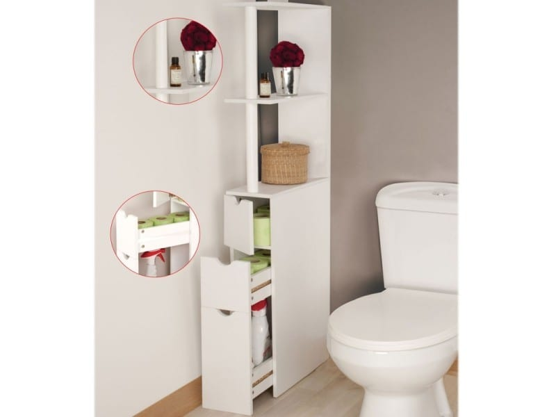 meuble wc tag re bois gain de place pour toilettes 3 portes vente de id market conforama. Black Bedroom Furniture Sets. Home Design Ideas