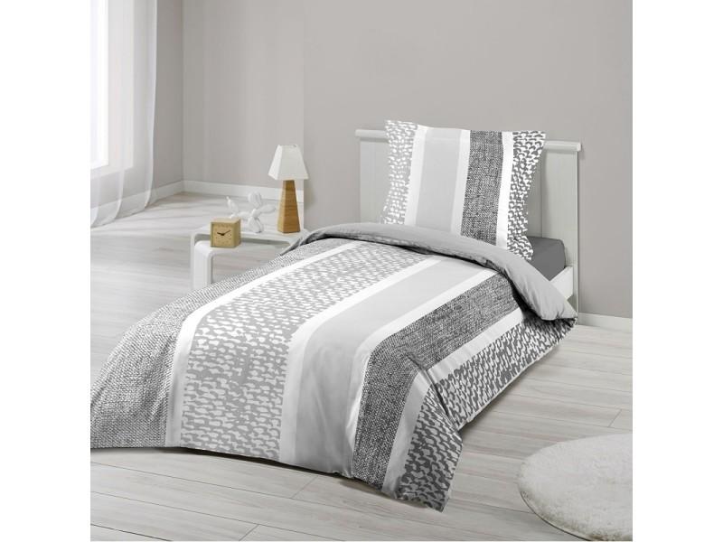 Parure housse de couette 140 x 200 cm modele textilio gris