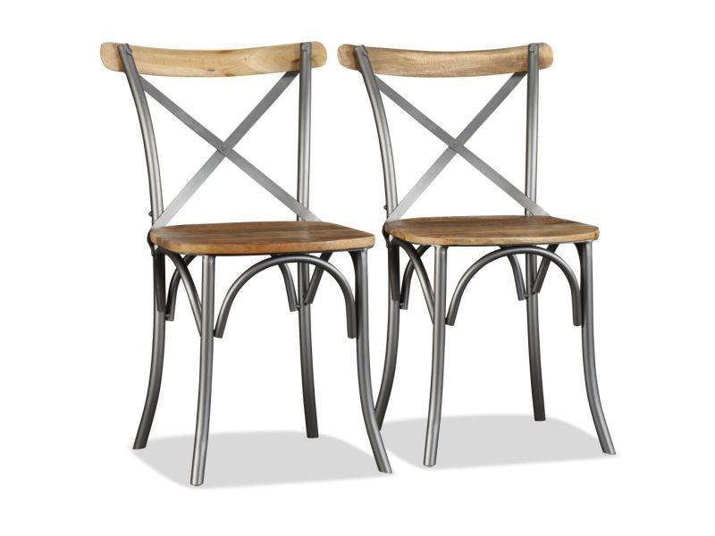 Joli fauteuils serie tachkent chaise de salle à manger 2pcs bois de manguier massif et acier