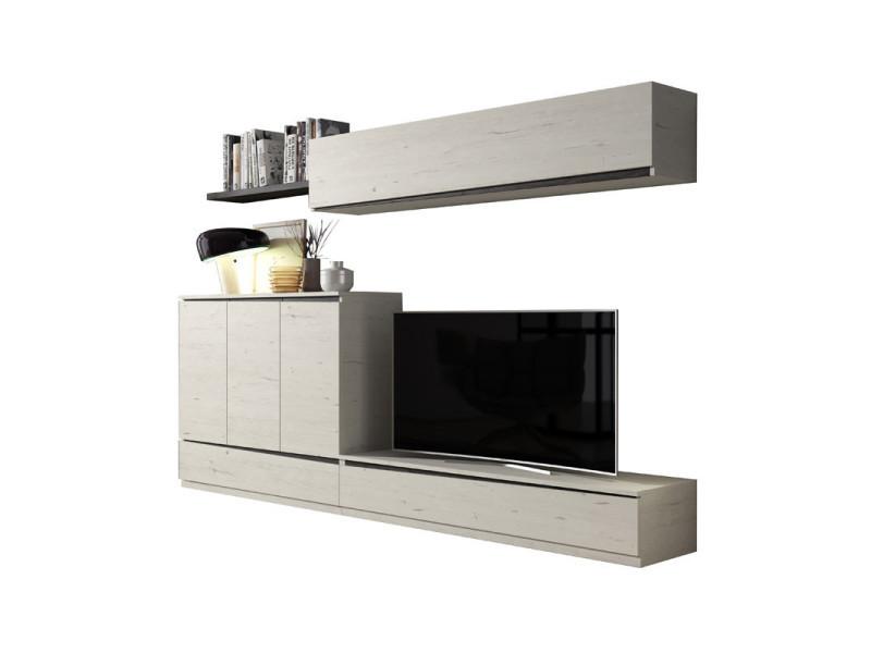 Composition meuble tv bois blanchi/bois noir - camelia n°1 - l 270 x l 45 x h 180 - neuf