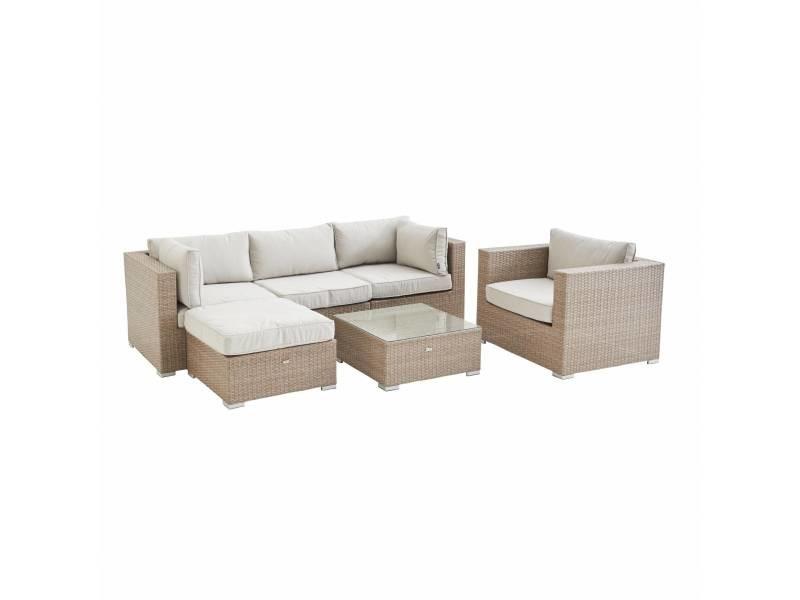 Salon de jardin en résine tressée - caligari - beige. Coussins beige - 5 places - 1 fauteuil. 1 fauteuil sans accoudoir. 1 pouf. 2 fauteuils d'angle. Une table basse