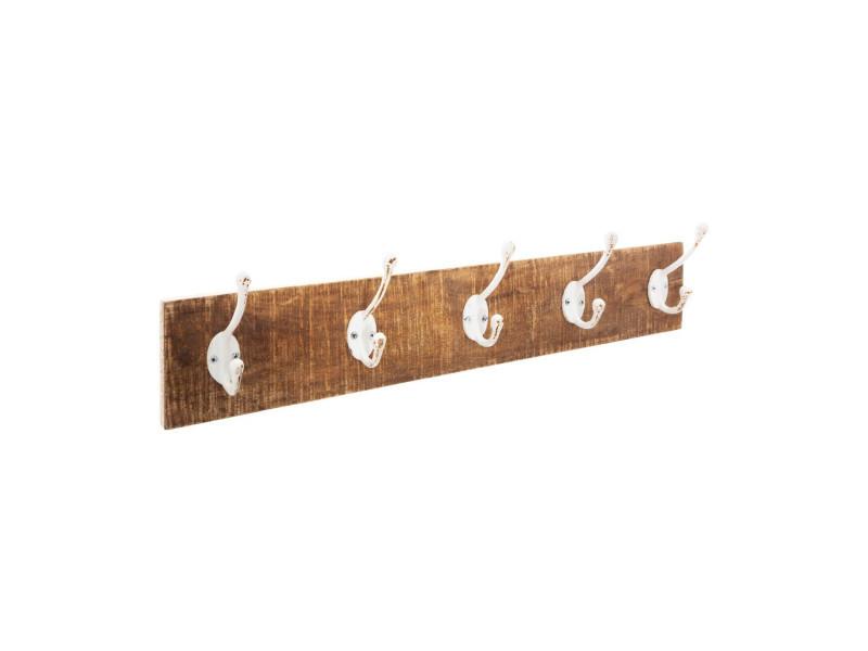 Atmosphera - patère en bois 5 crochets en métal blanc 74 x 15 cm
