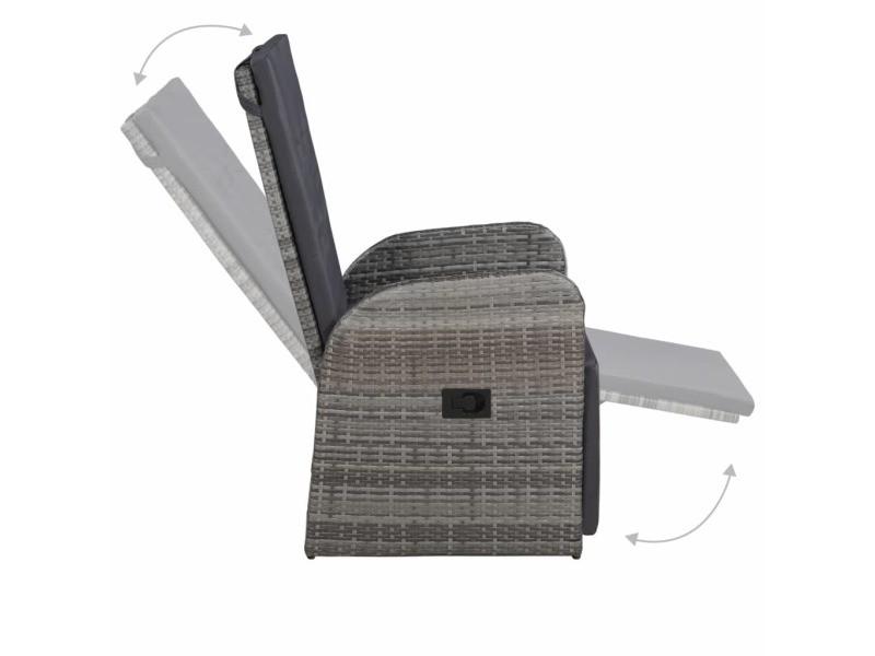 Vidaxl chaise inclinable de jardin et coussin résine tressée gris 47677