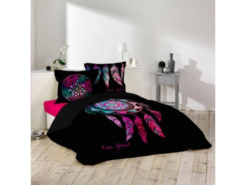parure housse de couette 240 x 220 cm porte bonheur vente de parure de lit 1 personne conforama. Black Bedroom Furniture Sets. Home Design Ideas
