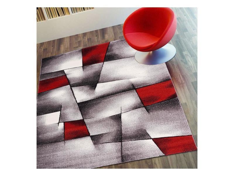 Tapis Contemporain Pour La Chambre Triangula Blanc, Gris, Noir, Rouge 240 X  340 Cm