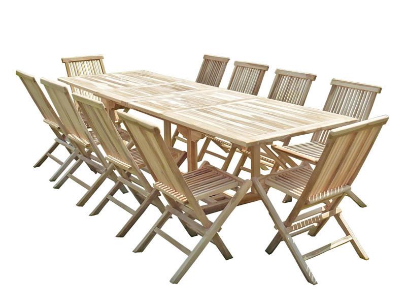 Ensemble salon de jardin en teck batan 10 chaises - Vente de ...