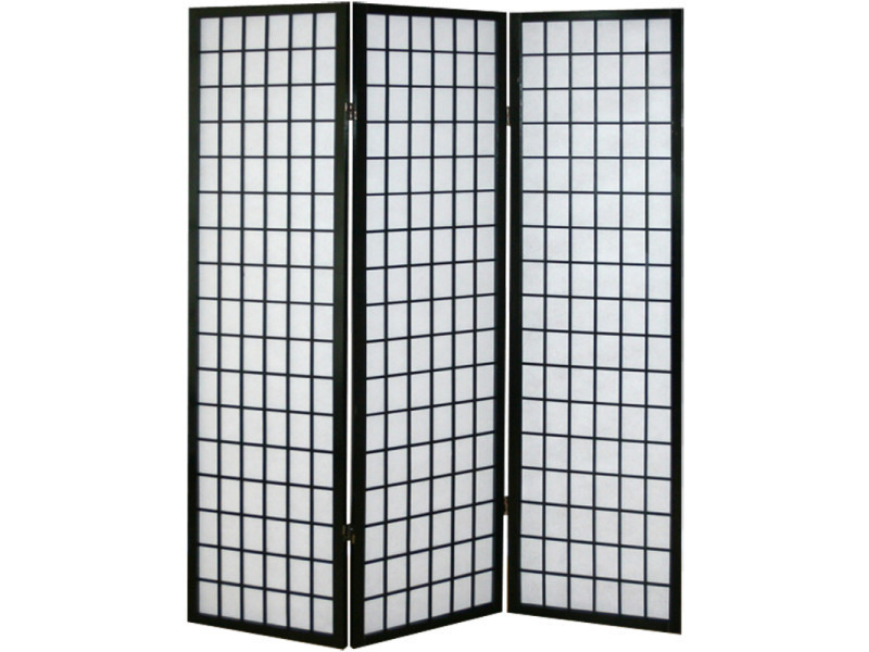 Paravent japonais shoji en bois noir de 3 pans pegane for Paravent interieur conforama