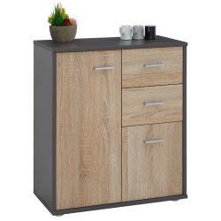 Buffet remy commode rangement 2 portes 2 tiroirs mélaminé gris mat et décor chêne sonoma