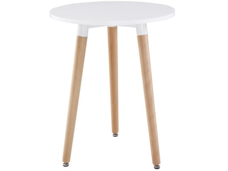 Table Ronde Style Scandinave Norway 80 X 75 Cm Blanc Mat Et Brillant