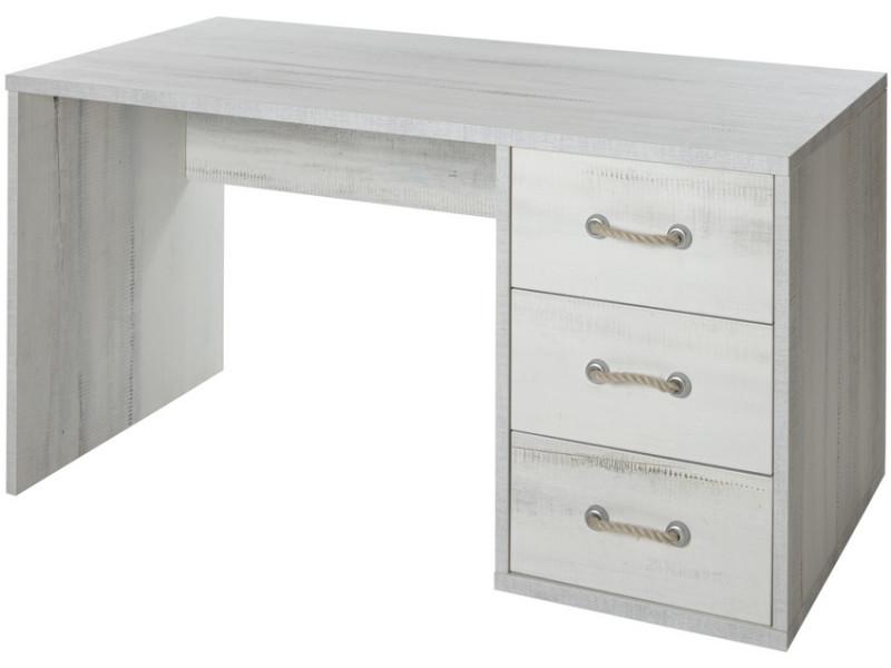Bureau contemporain coloris blanc et gris contemporain en bois mdf