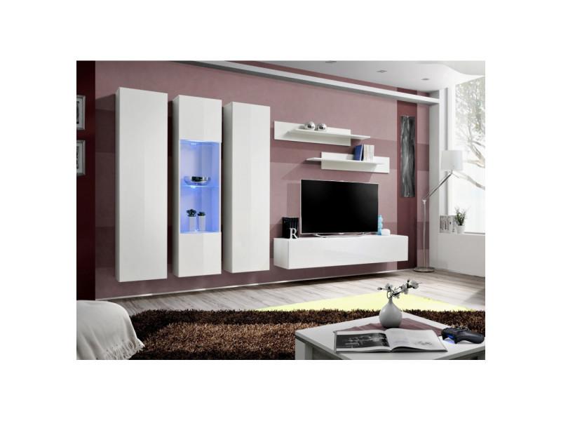 Ensemble meuble tv mural - fly v - 310 cm x 190 cm x 40 cm - blanc