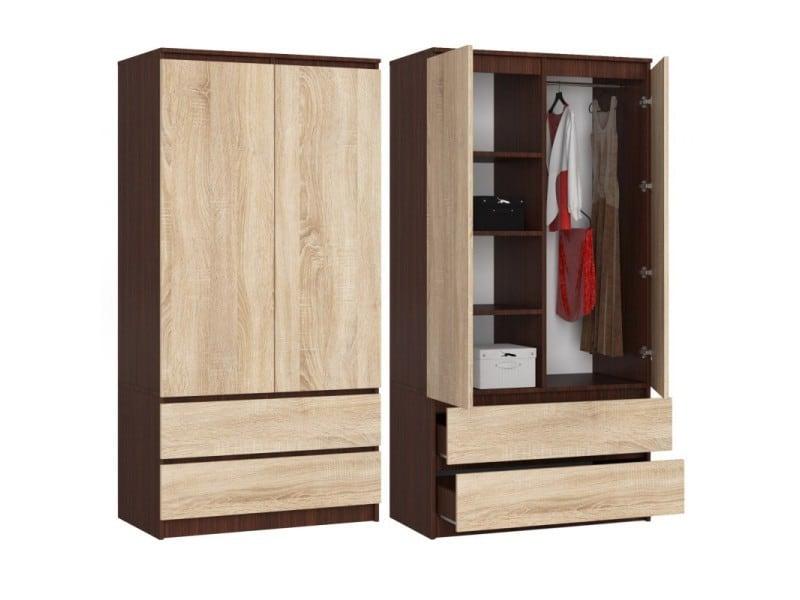 Blanca | armoire contemporaine chambre dressing | 180x90x51 cm | meuble de rangement | armoire dressing - wengé/sonoma