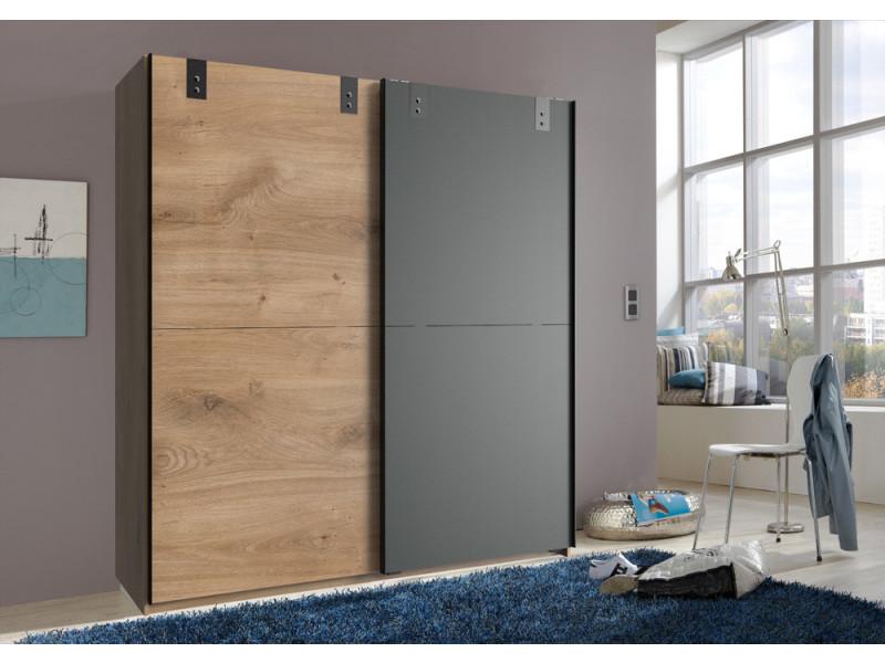 Armoire design 2 portes coulissantes chêne poutre rechampis graphite - l180 x h198 x p64 cm -pegane-