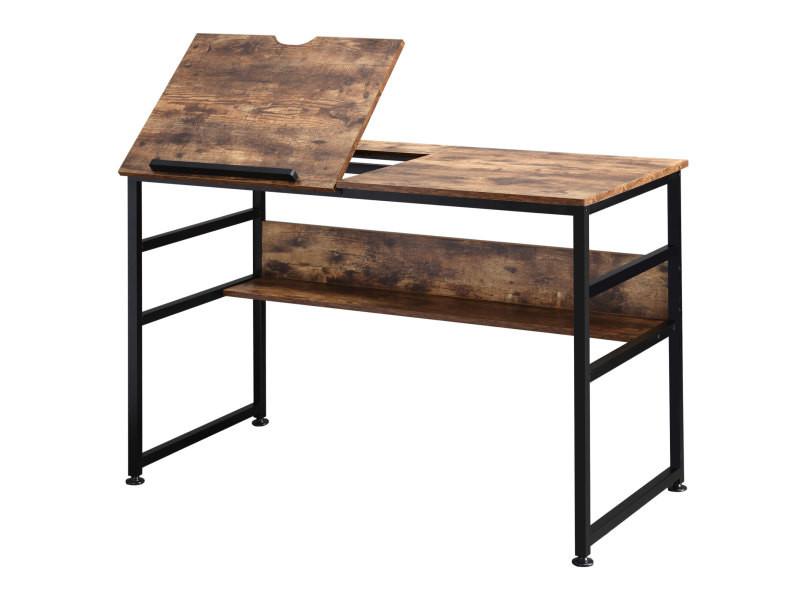 Bureau informatique design industriel - plateau relevable, étagère - panneaux particules aspect vieux bois métal noir