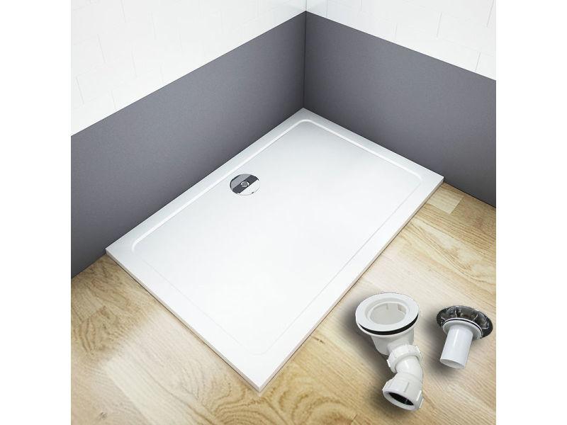 Aica receveur de douche extra plat 100x80x3cm rectangle avec le bonde