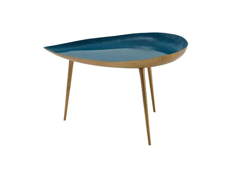 Table basse design en acier laqué bleu canard 80 cm drop
