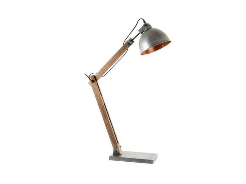 Lampe de table bois et métal style industriel