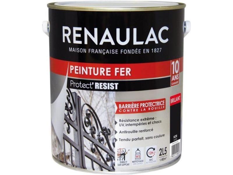 Peinture - vernis - traitement (lasure - effets decoratifs) peinture fer noir - brillant - garantie 10 ans - 2,5l - 40m² / pôt
