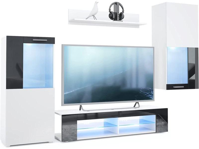 Ensemble de meubles de salon en blanc et noir leds bleus