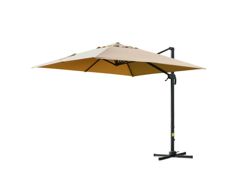 Parasol déporté carré inclinable pivotant 360° manivelle piètement acier dim. 3l x 3l x 2,7h m beige