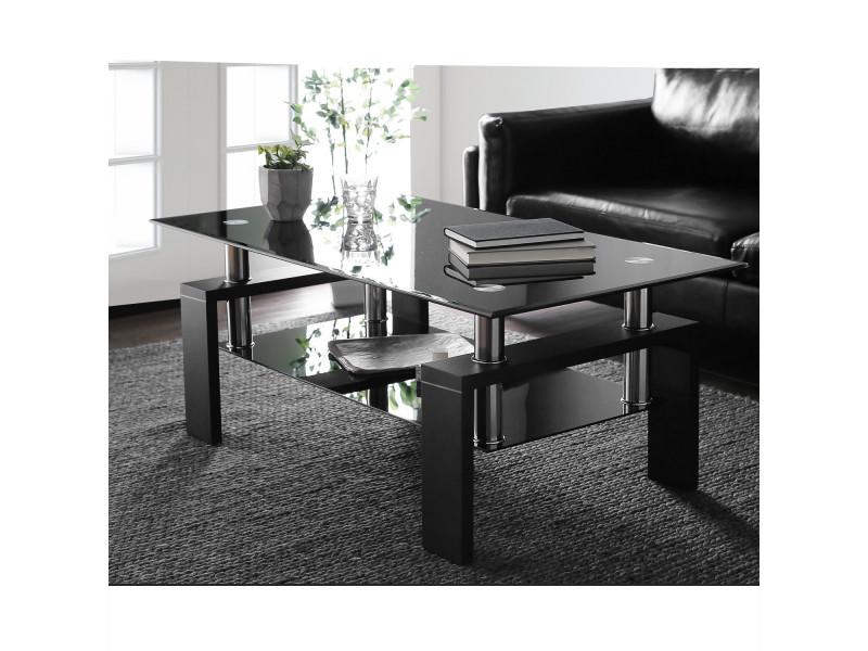 Table basse pour salon - en verre et bois - avec étagère - noir
