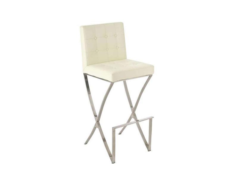 Tabouret de bar avec siège en polyuréthane coloris blanc - 110 x 45 x 53 cm -pegane-
