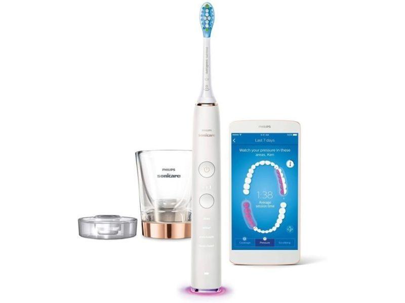 Brosse à dents électrique rechargeable diamond clean smart blanc rose or HX9901/63-3