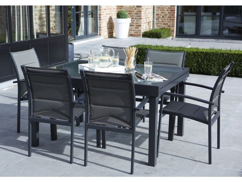 Table de jardin 135/270 modulo 10 places grise W_600019 - Vente de ...