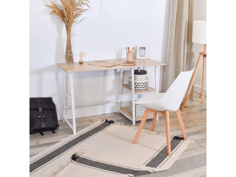 Bureau d'ordinateur avec 2 étagères de travail en bois et acier blanc
