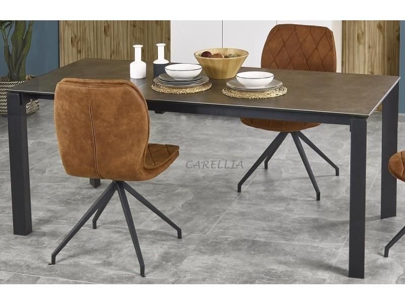 Table a manger extensible design - l : 120÷180 x p : 85 cm x h 76 cm - taupe/noir