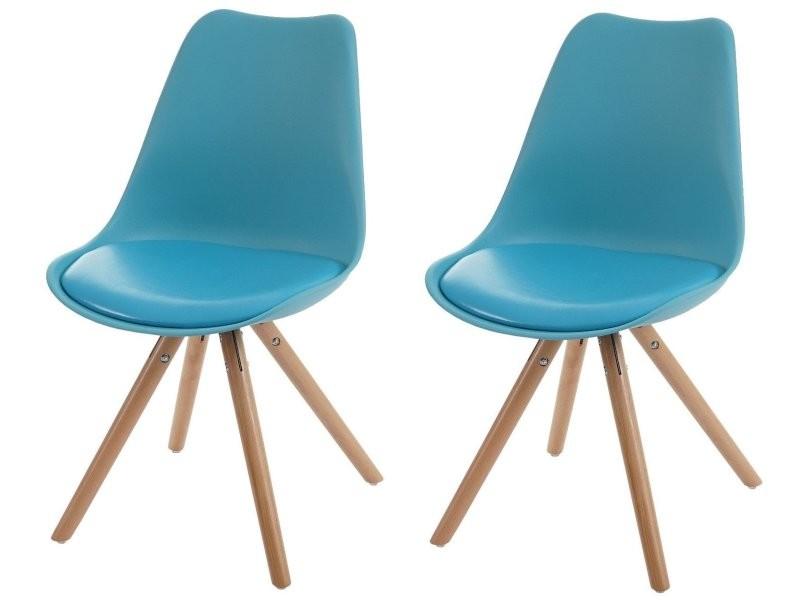 Lot de 2 chaises de salle à manger rétro simili-cuir bleu pieds bois ...