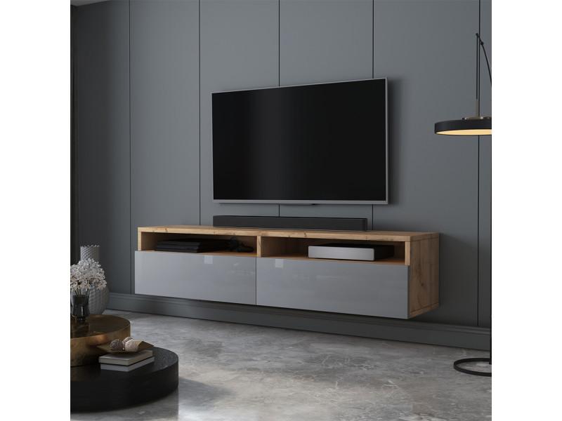 Meuble tv - rednaw - 140 cm - chêne wotan / gris brillant