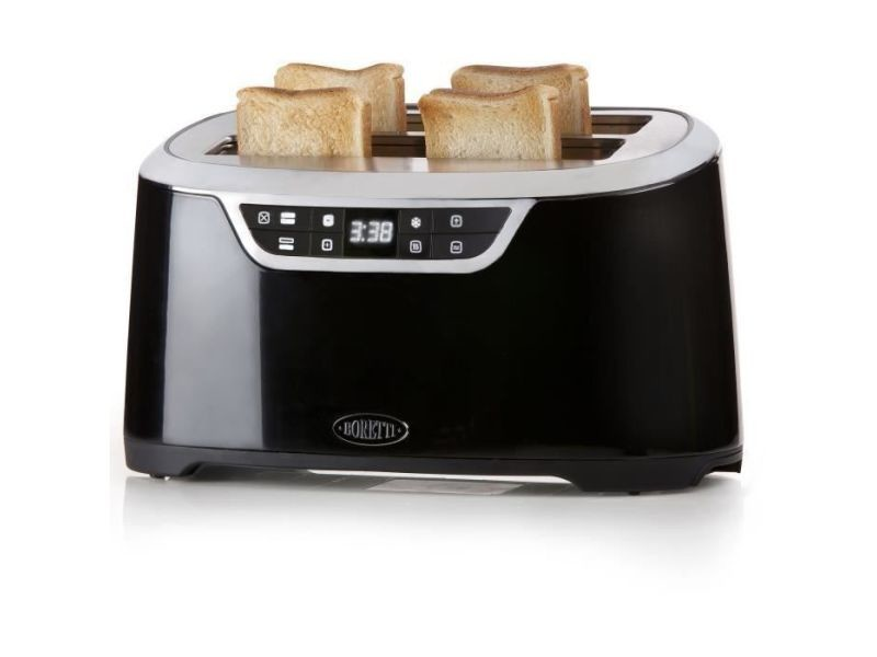 BORETTI B300 Grille Pain XL 2 Fentes : 4 toasts Noir