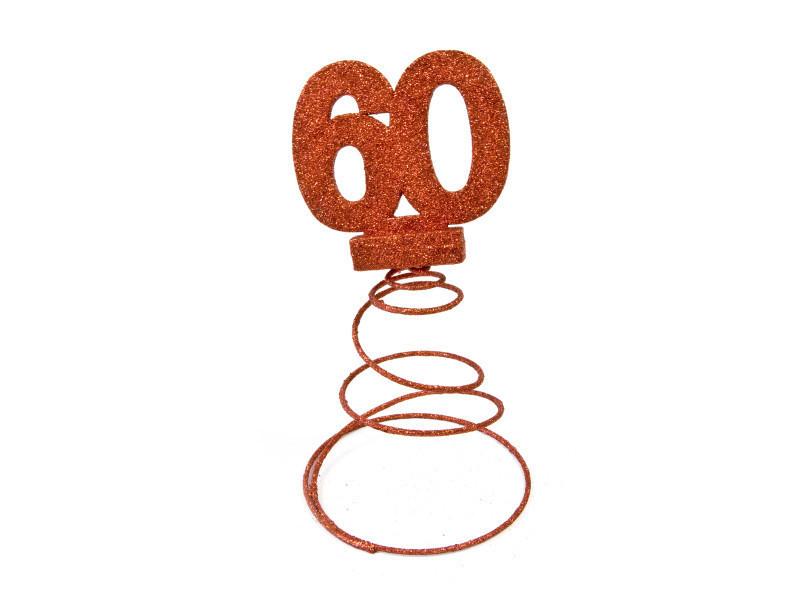 Lot de 10 centres de table pour anniversaire 60 ans - rouge pailletée