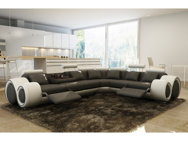 Canapé d'angle cuir gris et blanc + positions relax oslo (droit)-