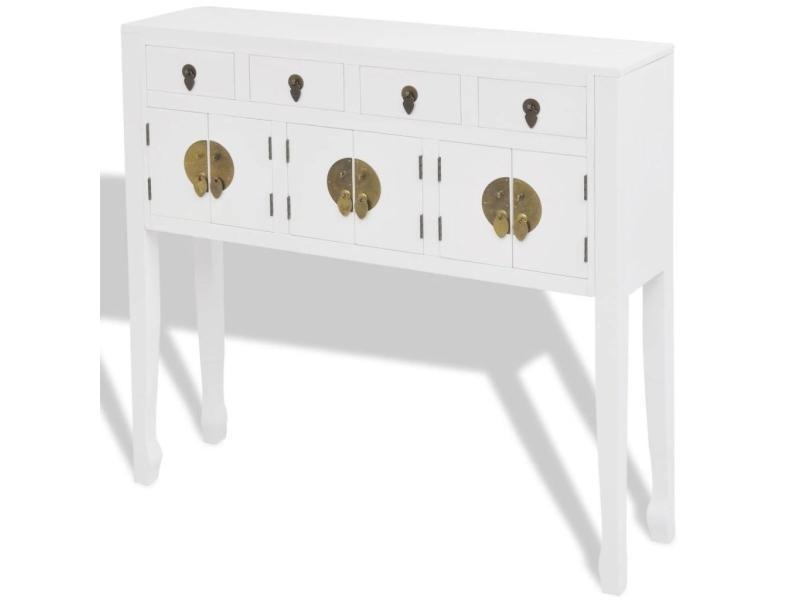 Buffet bahut armoire console meuble de rangement en style chinois en bois massif blanc helloshop26 4402004