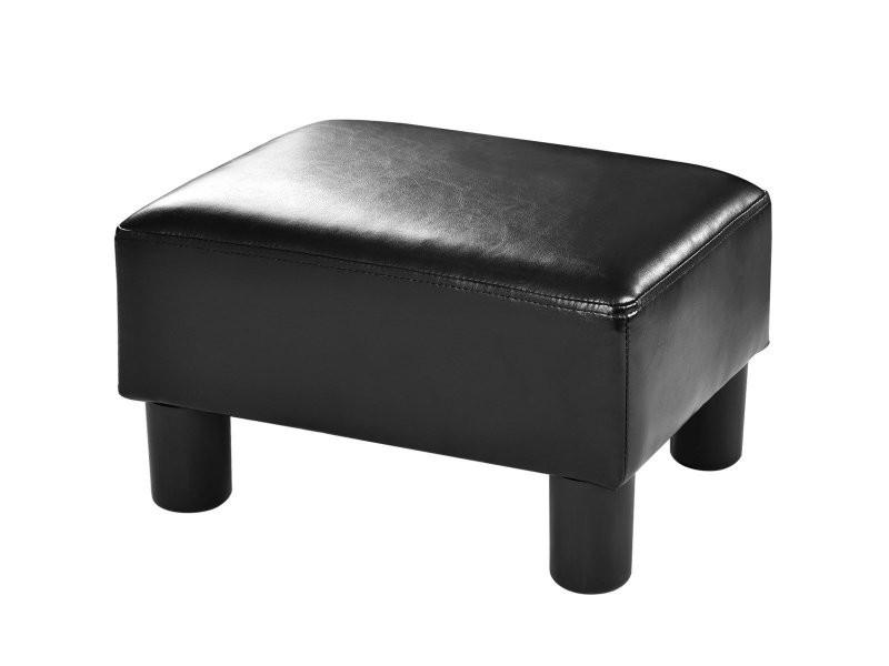Pouf assis cube repose-pieds tabouret repose-pieds cube siège pu avec pieds 40x30x24 cm noir helloshop26 20_0001006