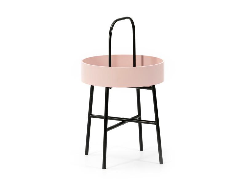 Table auxiliaire table basse ronde Jaipur avec plateau en mdf rose et structure métallique en couleur noir mat/diamètre: 40 cm