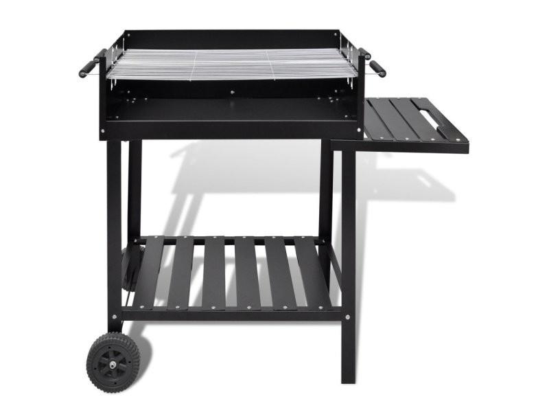Barbecue à charbon acier inoxydable sur roulettes helloshop26 1502013