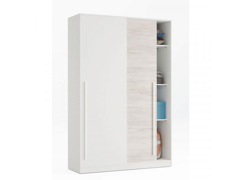 Armoire 2 portes coulissantes blanc - panda - l 120 x l 50 x h 200 cm