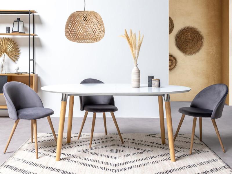 Bobochic table à manger extensible 170/270 cm belinda chêne et blanc