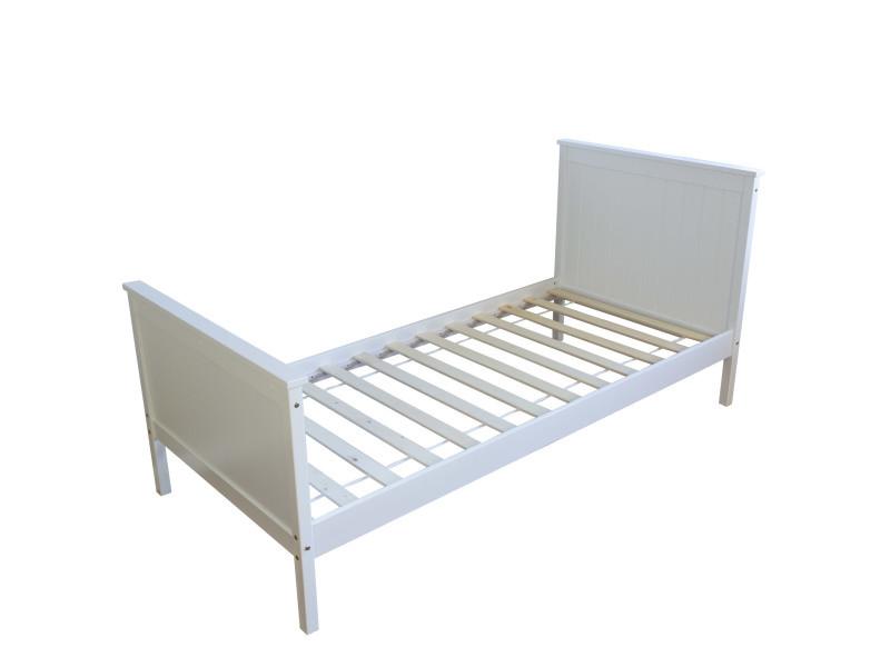 Admirable lit enfant 90 x 200 cm en bois blanc au design intemporel