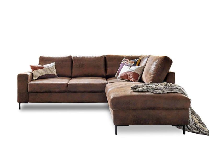Bobochic lilly l - canapé d'angle l - 5 places - convertible - industriel vintage - angle droit couleur - marron